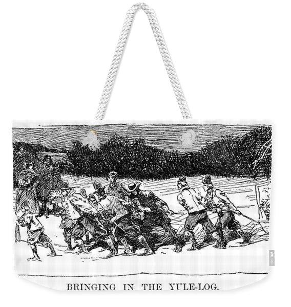 Christmas Yule-log Weekender Tote Bag