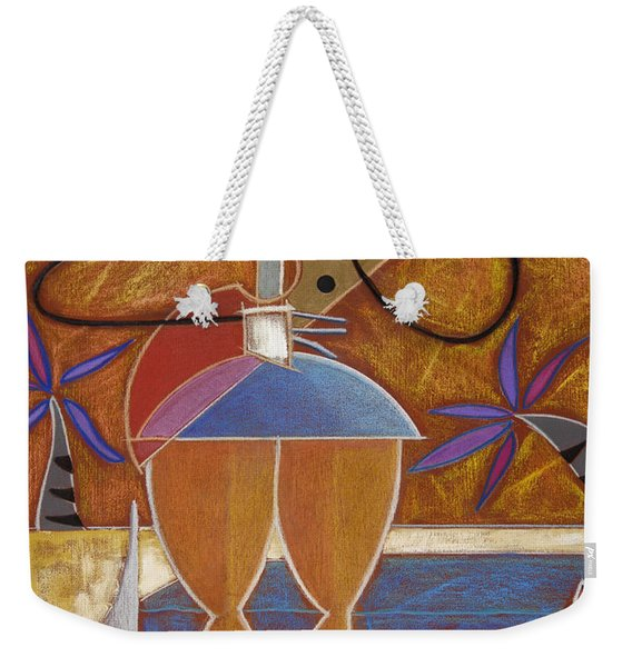 Weekender Tote Bag featuring the painting Cuatro Caliente by Oscar Ortiz