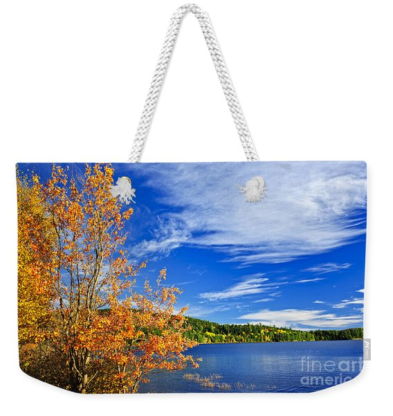 Fall Forest And Lake Weekender Tote Bag