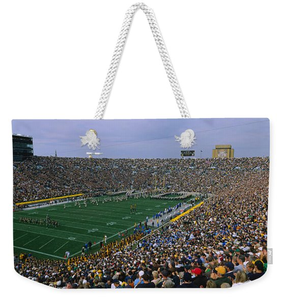 High Angle View Of A Football Stadium Weekender Tote Bag