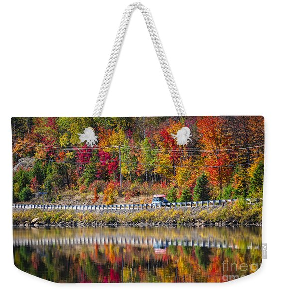 Highway Through Fall Forest Weekender Tote Bag