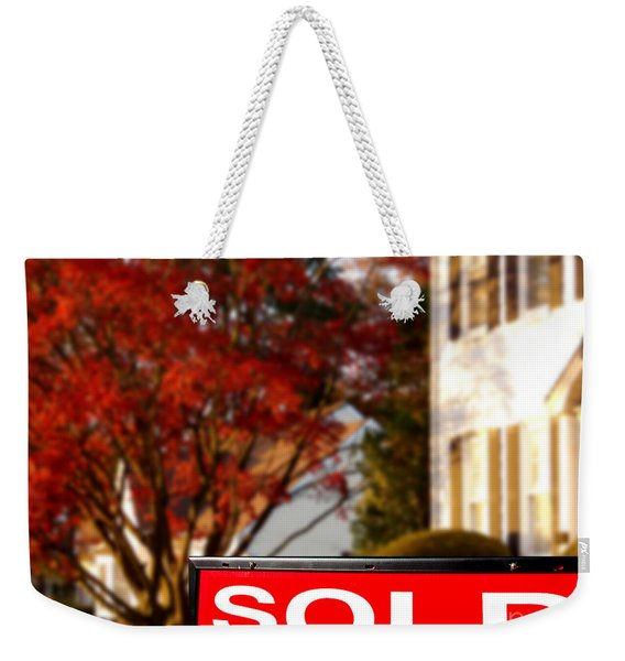 Real Estate Realtor Sold Sign And House For Sale Weekender Tote Bag
