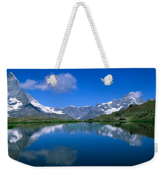 Reflection Of Mountains In Water Weekender Tote Bag