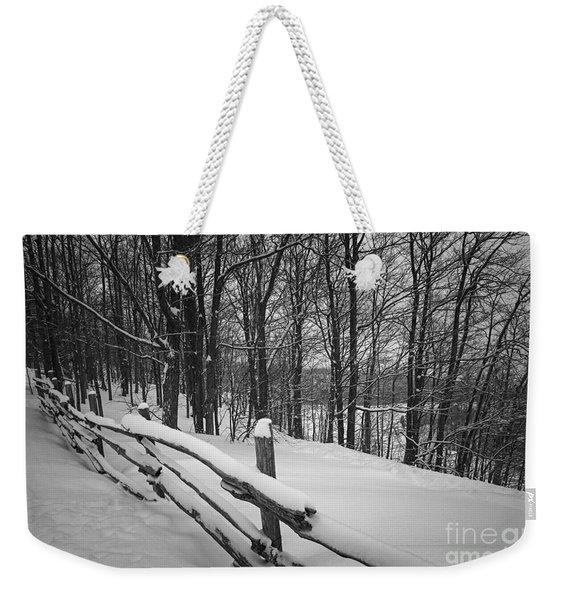Rural Winter Scene With Fence Weekender Tote Bag