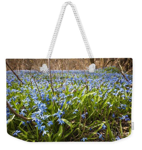 Spring Blue Flowers Weekender Tote Bag
