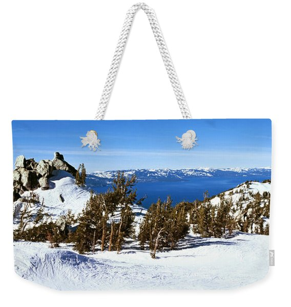 Trees On A Snow Covered Landscape Weekender Tote Bag
