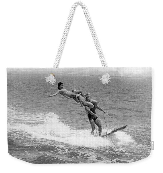 Aquaplaning Trio Falls Weekender Tote Bag