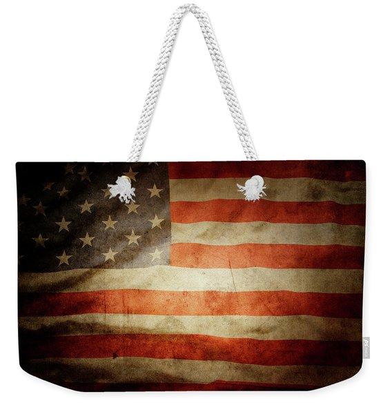 American Flag Rippled Weekender Tote Bag