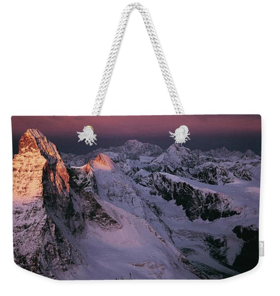 Panoramic Of High Mountain Peaks Weekender Tote Bag