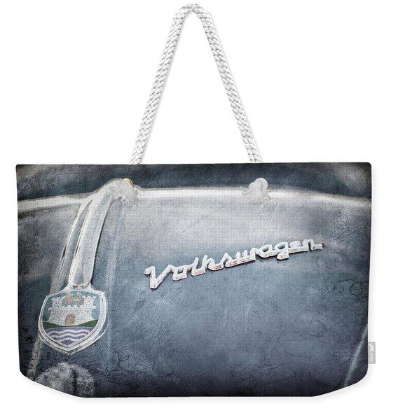 1956 Volkswagen Vw Bug Hood Emblem Weekender Tote Bag