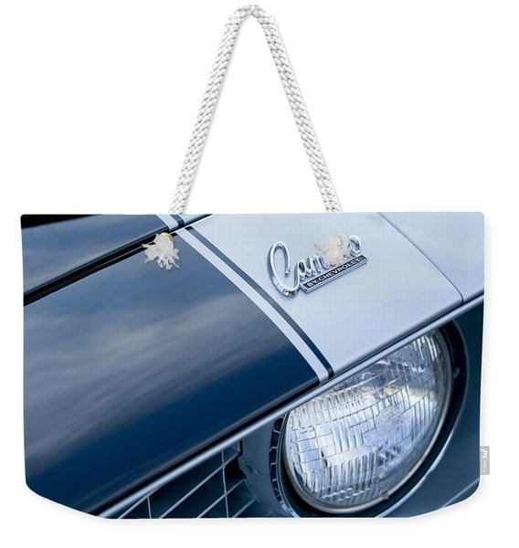 Weekender Tote Bag featuring the photograph 1969 Chevrolet Camaro Z-28 Emblem by Jill Reger