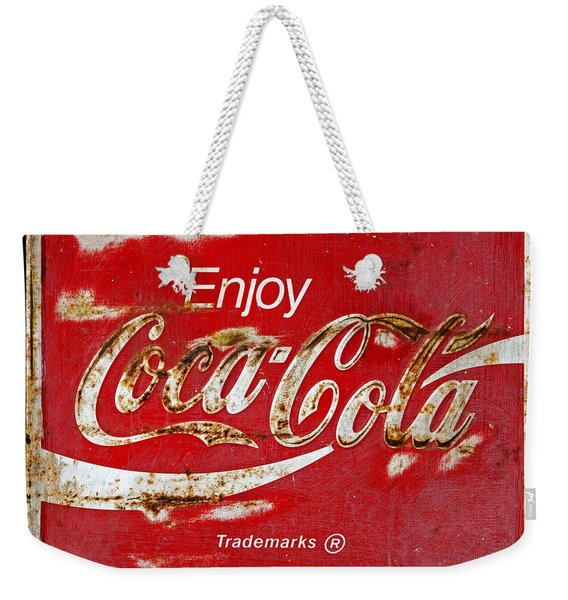 Coca Cola Vintage Rusty Sign Black Border Weekender Tote Bag