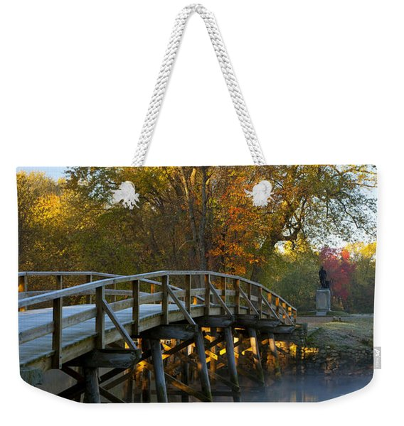 Weekender Tote Bag featuring the photograph Old North Bridge Concord by Brian Jannsen