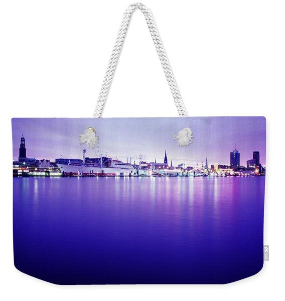 Port Of Hamburg, Germany City Skyline Weekender Tote Bag