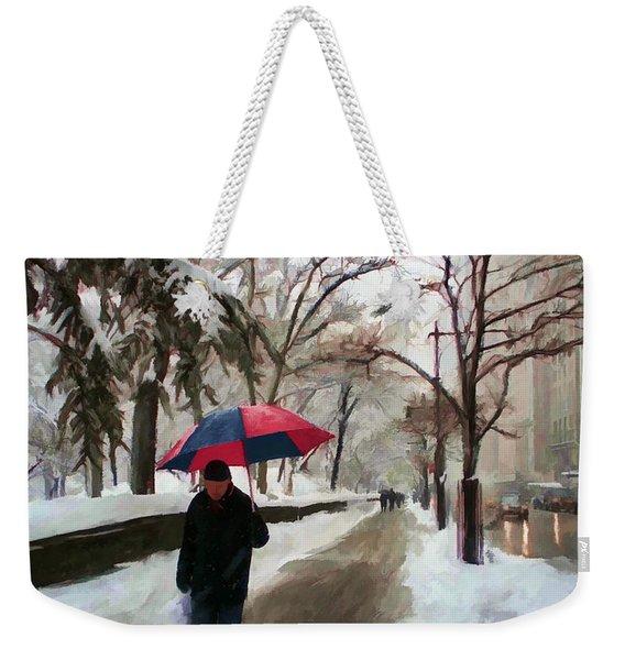 Snowfall In Central Park Weekender Tote Bag