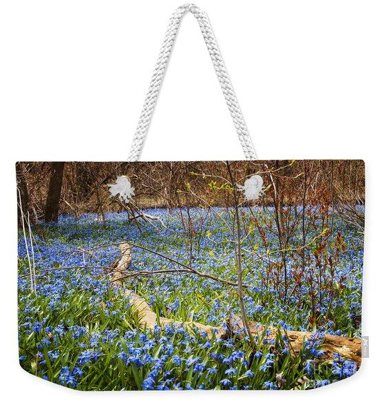 Spring Blue Flowers Wood Squill Weekender Tote Bag