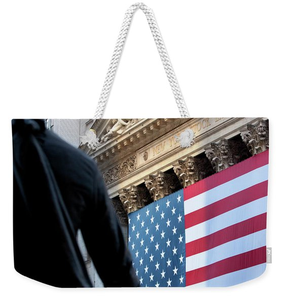 Weekender Tote Bag featuring the photograph Wall Street Flag by Brian Jannsen