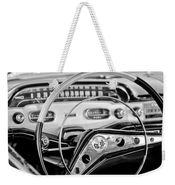 1958 Chevrolet Impala Steering Wheel Weekender Tote Bag