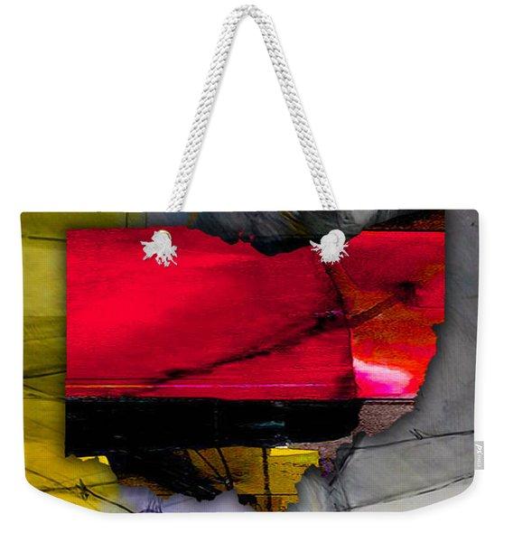 Ohio State Map Watercolor Weekender Tote Bag