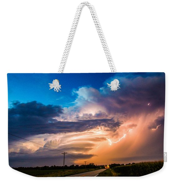 Weekender Tote Bag featuring the photograph Wicked Good Nebraska Supercell by NebraskaSC