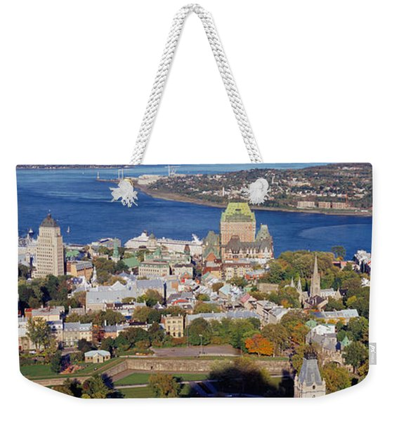 High Angle View Of Buildings In A City Weekender Tote Bag