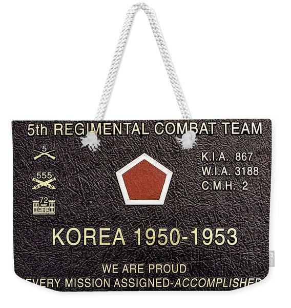 5th Regimental Combat Team Arlington Cemetary Memorial Weekender Tote Bag