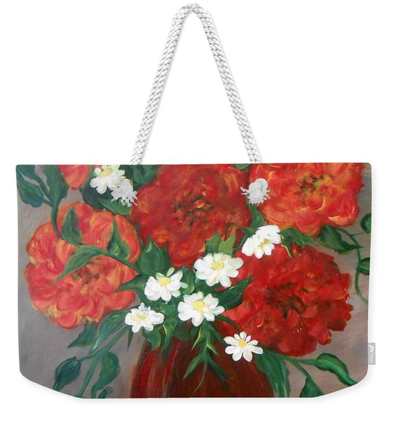 Weekender Tote Bag featuring the painting 6 Flowers by Cynthia Amaral