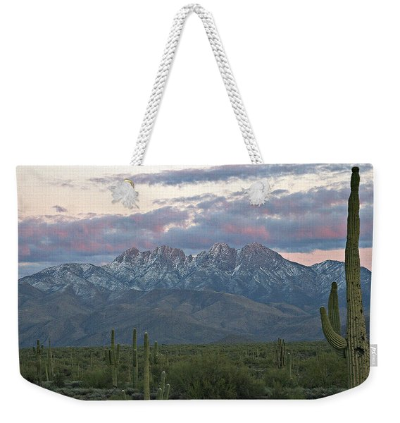 Four Peaks Sunset Snow Weekender Tote Bag