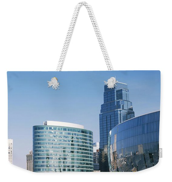 Low Angle View Of Downtown Skyline Weekender Tote Bag