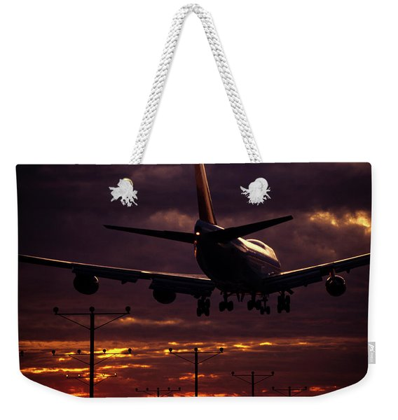 747 Landing At Lax, Los Angeles, Ca Weekender Tote Bag
