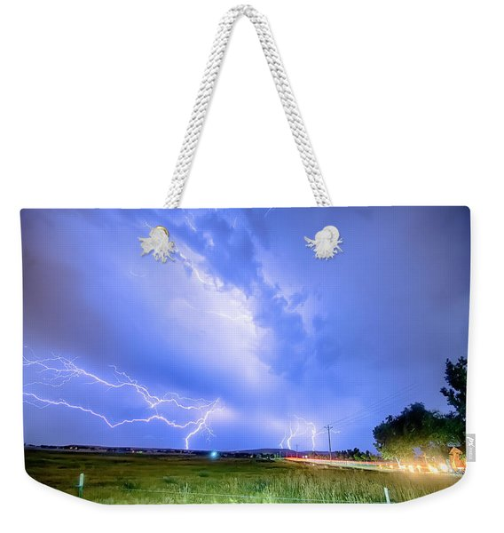 95th And Woodland Lightning Thunderstorm View Hdr Weekender Tote Bag