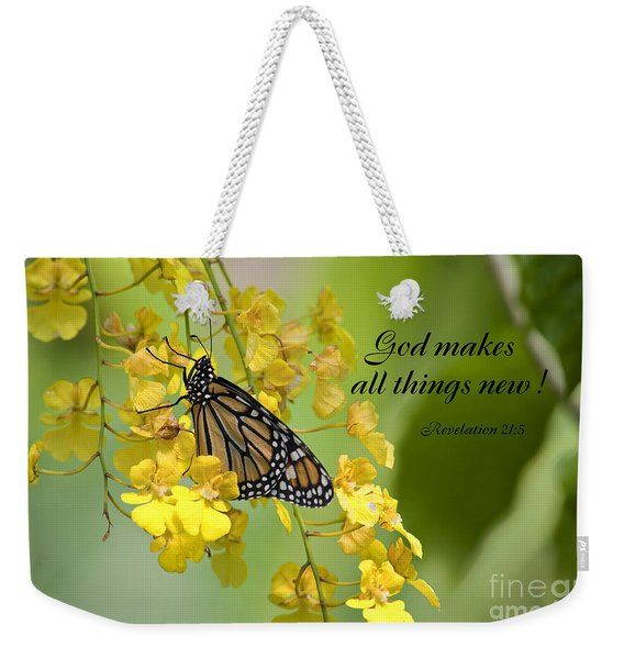 Butterfly Scripture Weekender Tote Bag