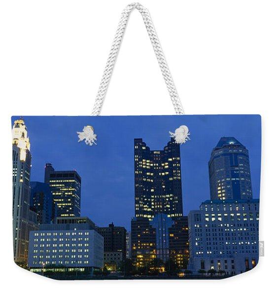 Low Angle View Of Buildings Lit Weekender Tote Bag