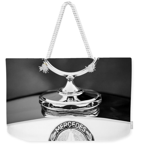 Weekender Tote Bag featuring the photograph Mercedes-benz Hood Ornament by Jill Reger