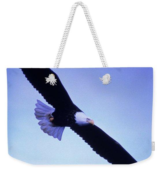 A Bald Eagle Flies Over Alaskas Chilkat Weekender Tote Bag