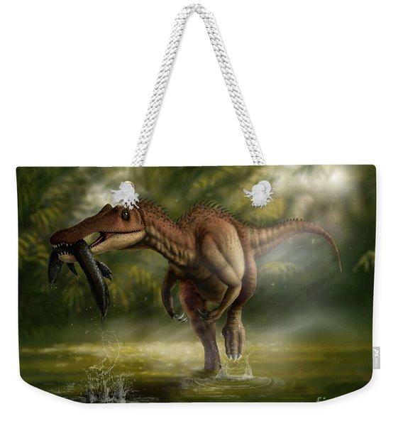 A Baryonyx Dinosaur Catches A Fishin Weekender Tote Bag