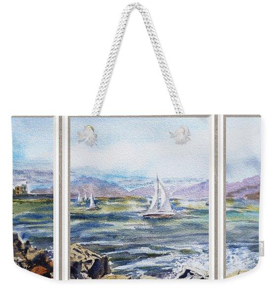 A Bay View Window Rough Waves Weekender Tote Bag
