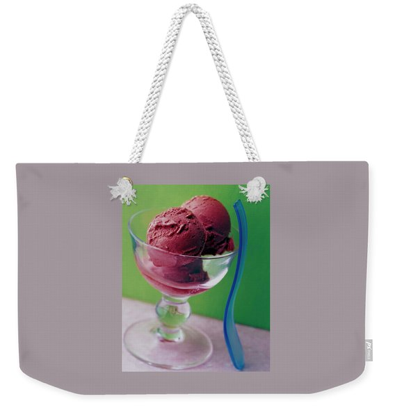 A Berry Sorbet In A Glass Cup Weekender Tote Bag