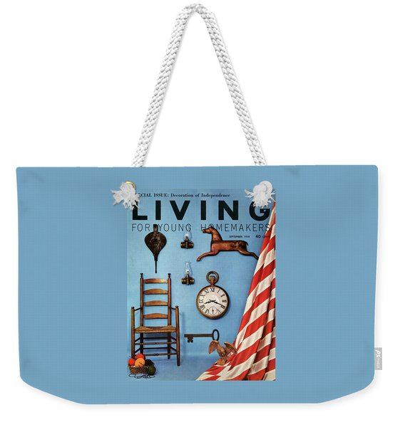 A Blue Wall With Decorations Weekender Tote Bag