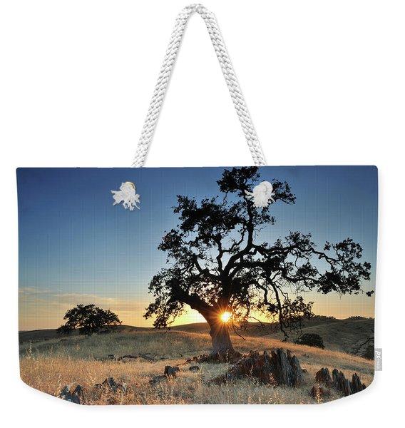 A Bright Orange Sun Peaking Weekender Tote Bag