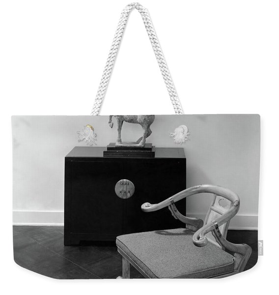A Chair, Bedside Cabinet And Sculpture Of A Horse Weekender Tote Bag