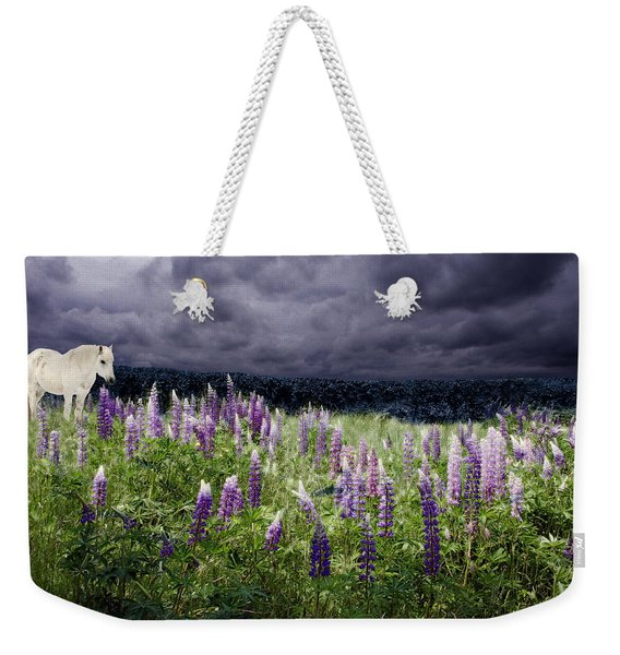 Weekender Tote Bag featuring the photograph A Childs Dream Among Lupine by Wayne King