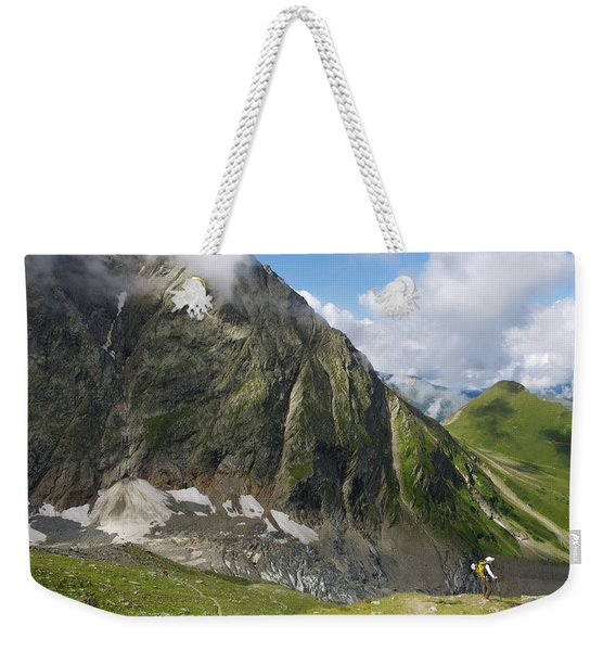 A Climber Descends Into The Valley Weekender Tote Bag