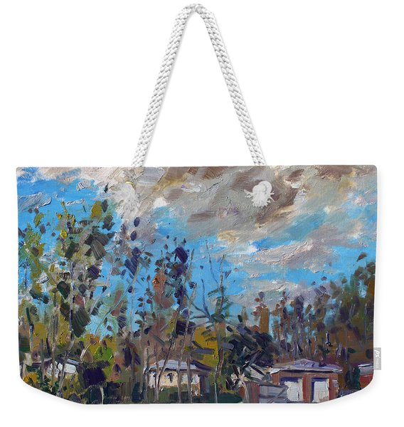 A Cloudy Fall Day Weekender Tote Bag