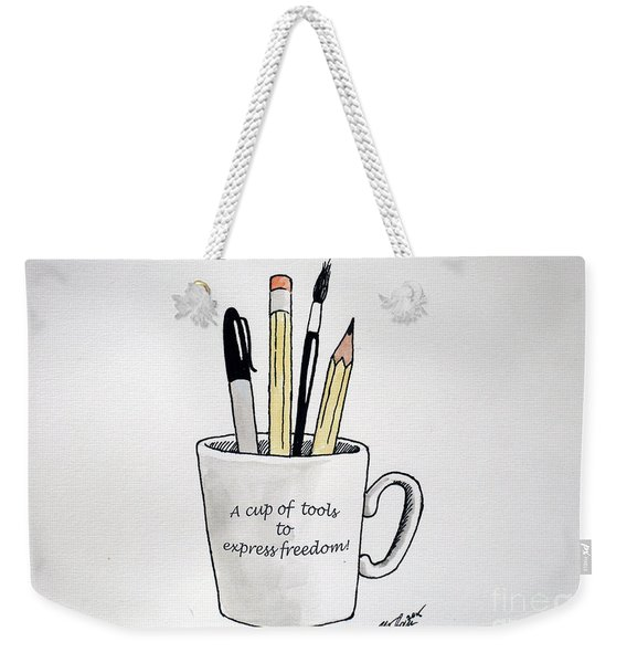 A Cup Of Tools To Express Freedom Weekender Tote Bag