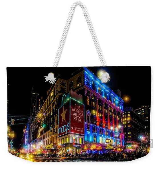 A December Evening At Macy's  Weekender Tote Bag
