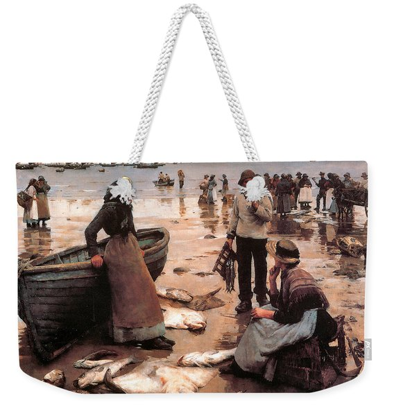 A Fish Sale On A Cornish Beach Weekender Tote Bag