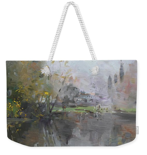 A Foggy Fall Day By The Pond  Weekender Tote Bag