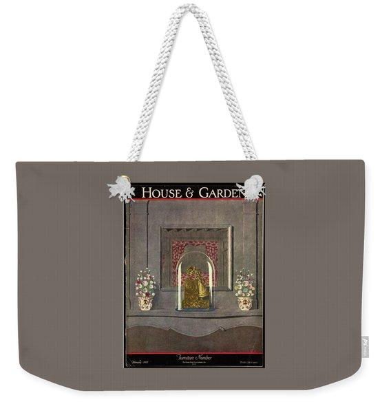 A Gilded Mantle Clock In A Bell Jar Weekender Tote Bag