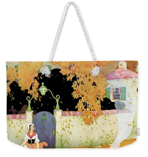 A Girl Sweeping Leaves Weekender Tote Bag